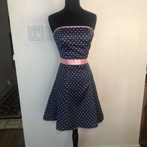 Jessica McClintock size 3 navy and pink polka dot